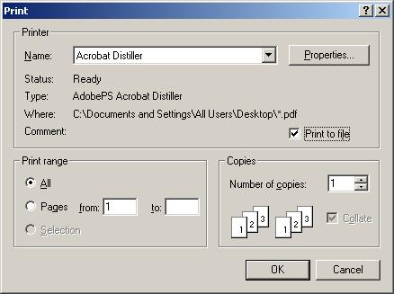 choose distiller printer