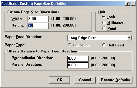 custom page size definition