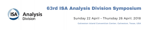 Apr 22-26, 2018 ISA Analysis Sympiosium, Galveston, TX